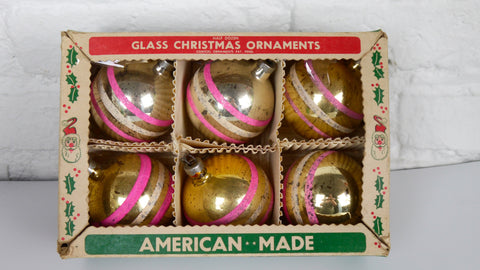 Vintage 1950s Christmas Ornaments Gold Silver Striped Pink White Glitter USA set of 6 Paragon