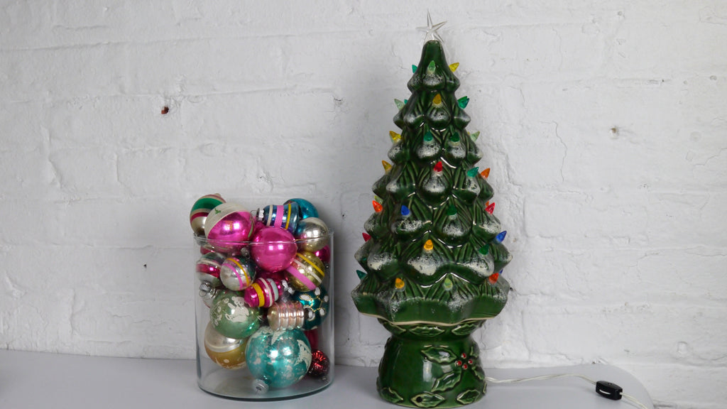 Vintage Large Ceramic Christmas Tree with Lights and Snow Green