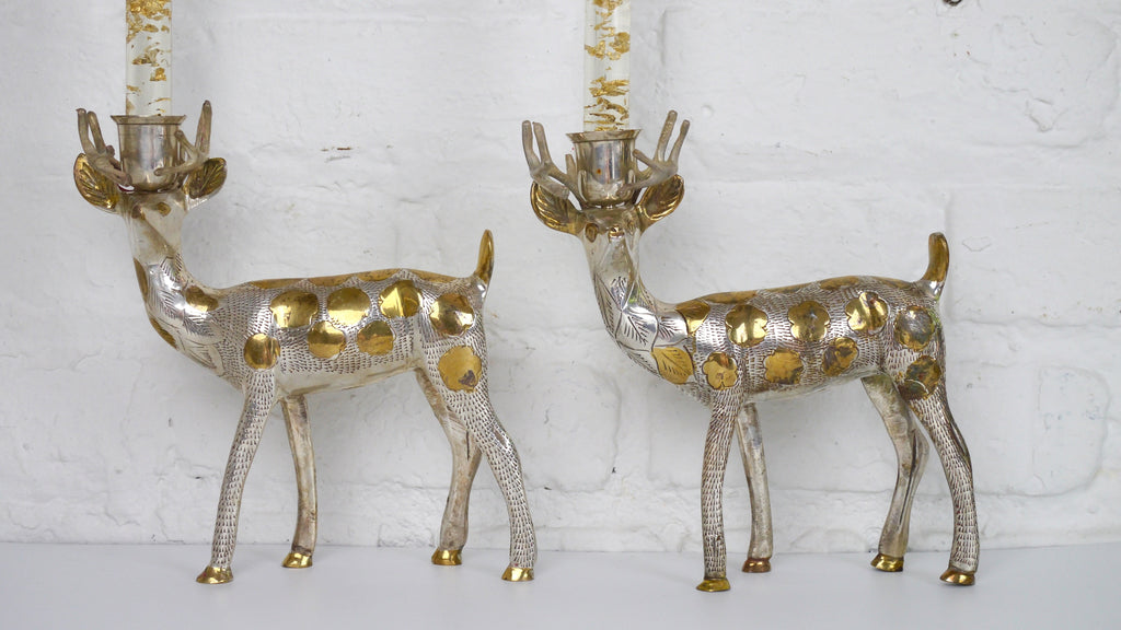 Vintage Deer Holder Candleholder Pair Brass Metal Flower Design India