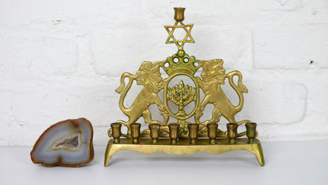 Vintage Mid Century Menorah Brass Lion Star of David