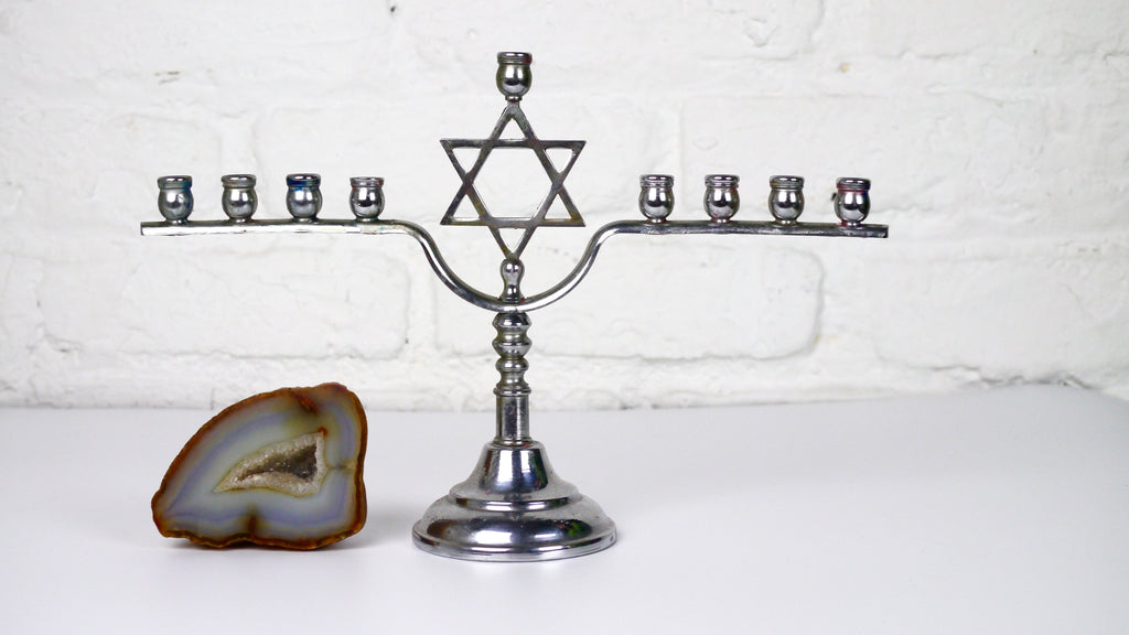 Vintage Menorah Silver Star of David