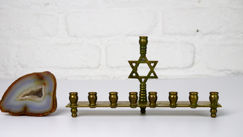Vintage Small Brass Menorah Star of David