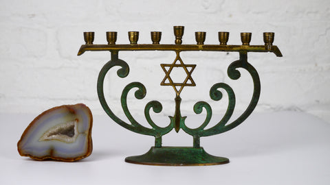 Vintage Mid Century Menorah Brass Blue Enamel Star of David Made in Israel