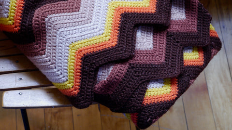 Vintage 1970s Crochet Throw Blanket Afghan Orange Brown Fall Colors Zig Zag