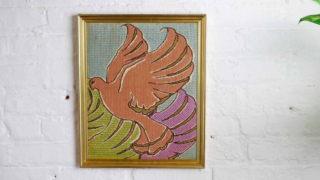 Vintage Needlepoint Dove Handmade Colorful Pink Blue Green Purple Gold