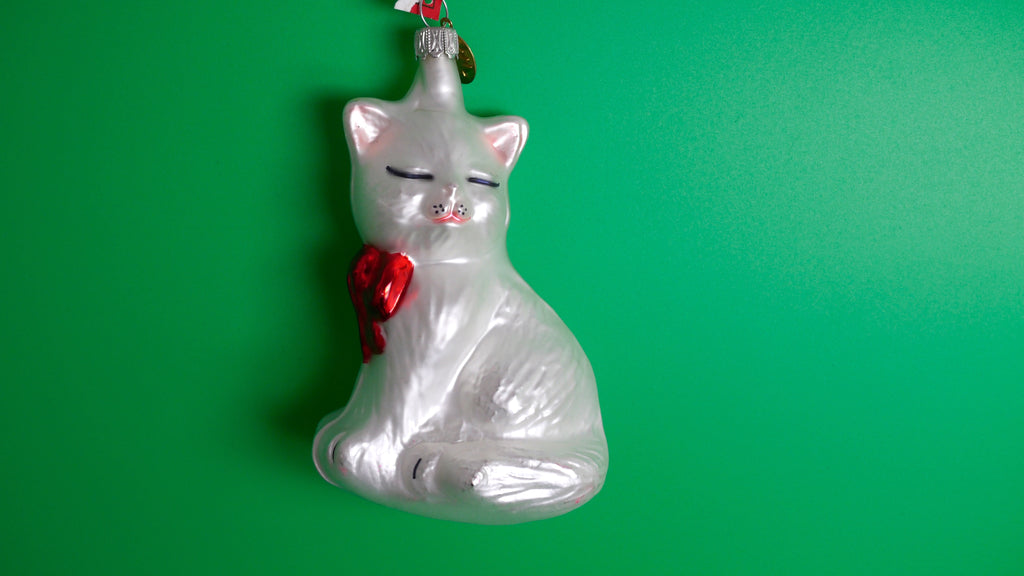 Vintage Cat Christmas Ornament Blown Glass White Germany