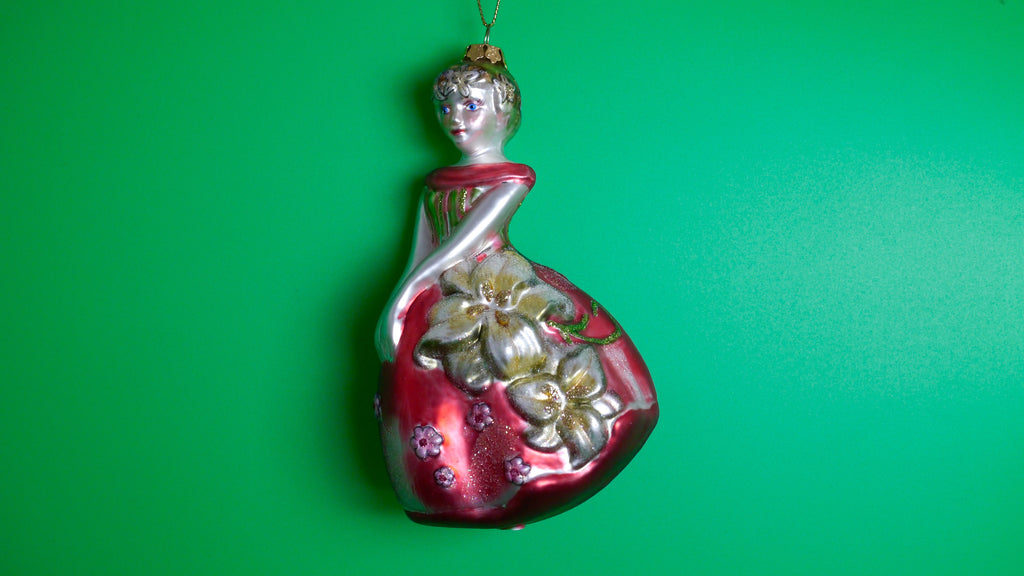 Vintage Blown Glass Christmas Ornament Girl Red Dress