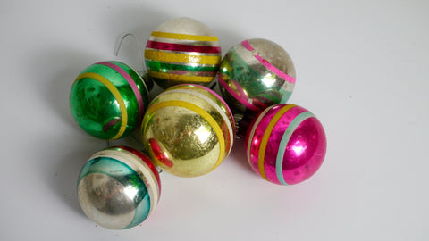 Mid Century Shiny Brite Striped Ornaments Set of 6 Mercury Glass Pink Green Gold Blue