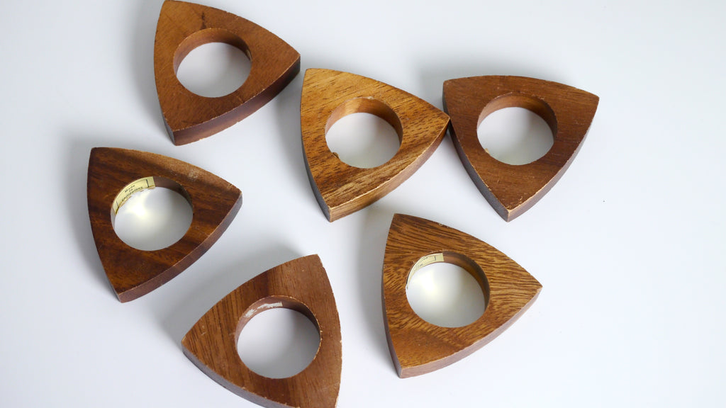 Vintage Mid Century Teak Napkin Rings Triangle Set of 6