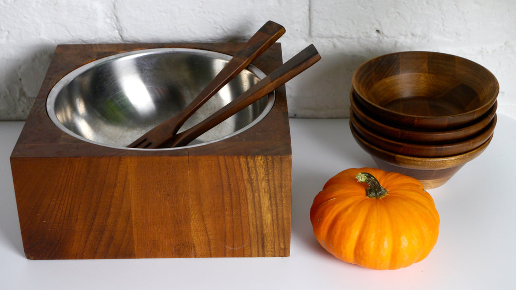 Vintage Mid Century Teak Salad Bowl Serving Set with Stainless Steel Insert