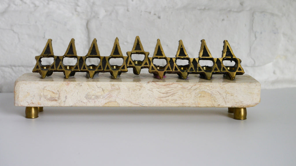 Vintage Menorah Marble and Brass Brutalist Style