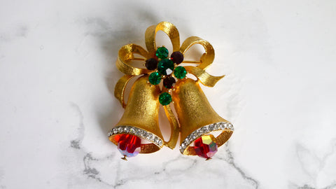 Vintage Mid Century Weiss Bell Brooch Red Green Christmas