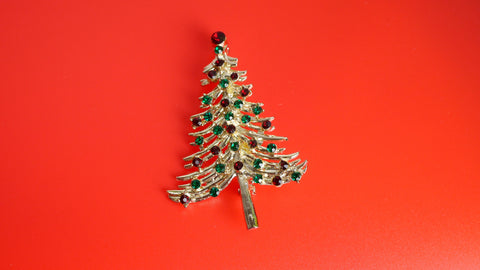 Vintage 1960s Christmas Tree Brooch Red Green Rhinestones