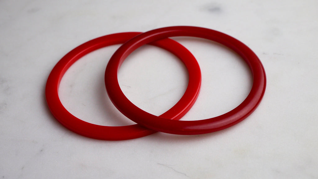 Vintage 1940s Bakelite Red Spacer Bangles Set of 2
