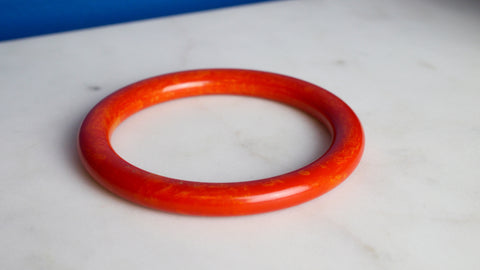 Vintage 1940s Bakelite Bangle Bracelet Bright Red Marbled Yellow
