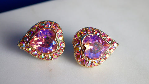 Vintage Earrings - Kramer Pink Aurora Borealis AB Rhinestone Heart Clip on Earrings