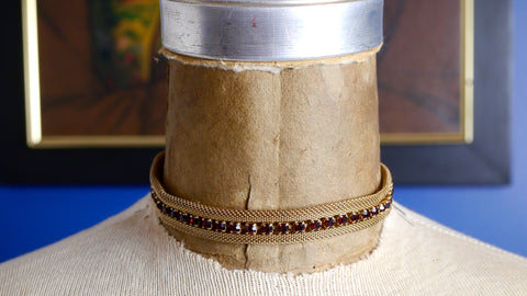 Vintage Mid Century Choker Necklace Gold Mesh Red Rhinestone