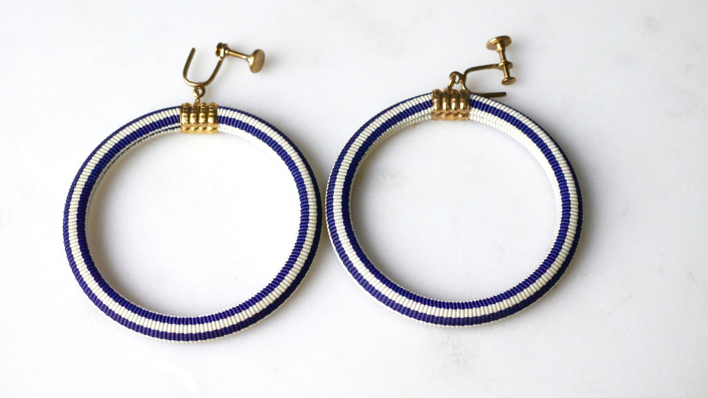 Vintage 1940s Hoops Screw Back Earrings Striped Fabric Navy Blue White Nautical