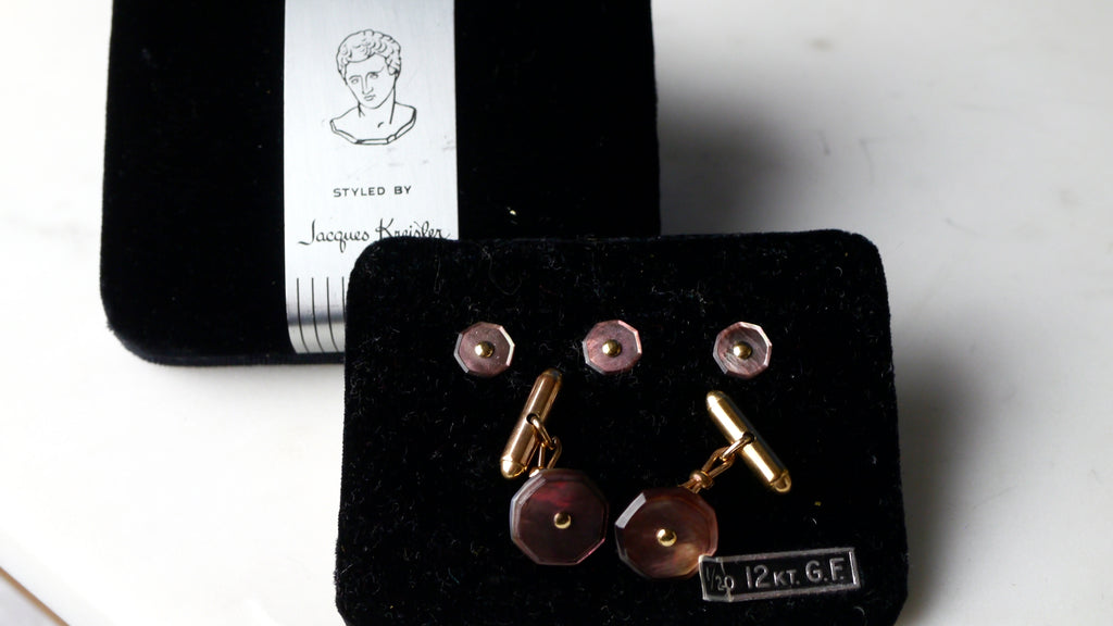 Vintage Art Deco Jacques Kreisler Cuff Link and Shirt Studs Set Abalone