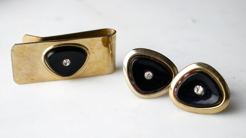 Vintage Mid Century CuffLinks and Tie Clip Set Atomic Gold Black Rhinestone