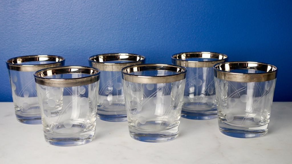 Vintage Mid Century Silver Rimmed Lowball Glasses Etched Set of 6 Circles Dorothy Thorpe Style