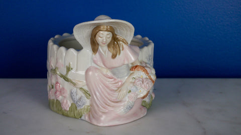 Vintage 1980s Teleflora Planter Woman Girl Garden Hat Rose Blush Pink Pastel