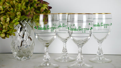 Mid Century Irish Coffee Glasses Shamrock Clover Gold Rim Stem Set of 4
