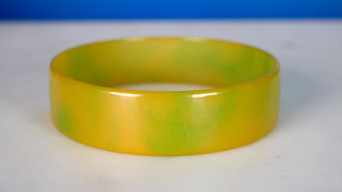 Bakelite Bangle Bracelet Marbled Green Thin Flat