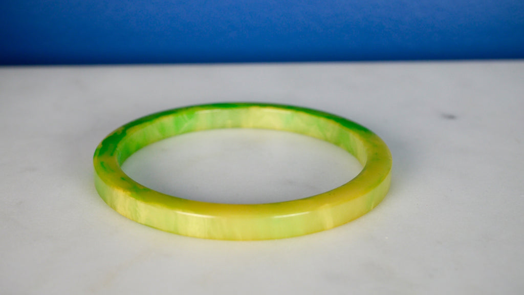 Bakelite Bangle Bracelet Spacer Marbled Lime Green
