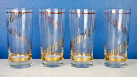 Vintage Mid Century Highball Glasses Tumblers Set of 4 Gold Swirl