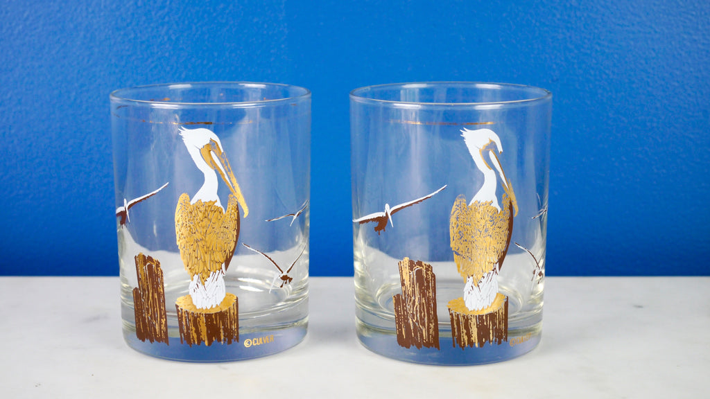 Vintage Mid Century Lowball Rocks Glasses Culver Pelican Nautical Set of 2