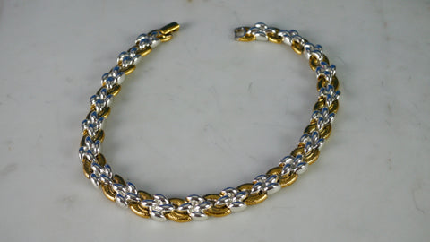 Vintage 1980s Napier Necklace Linked Chain Gold and Silver Tone