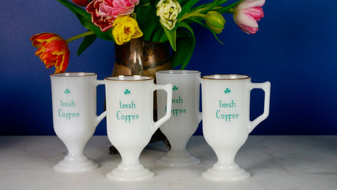 Vintage 1970s Irish Coffee Mugs White Milk Glass Gold Rim Pedstal Set of 4