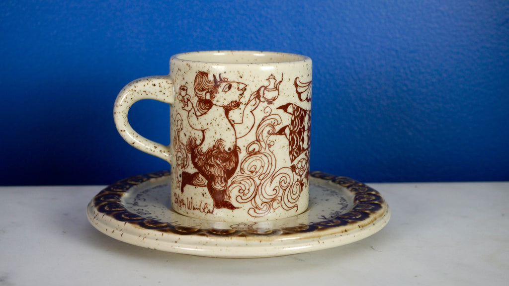 Vintage Bjorn Wiinblad Rosenthal Espresso Cup and Saucer Coffee Angel Devil