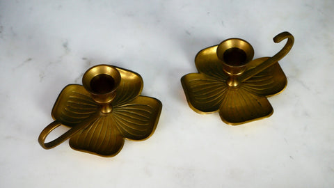 Vintage Brass Candle Holders Shamrock Clover Liards Set of 2