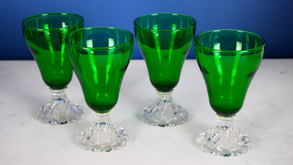 Vintage Mid Century Green Glasses Anchor Hocking Boopie Burple Wine Set of 4