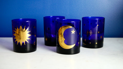 Vintage 1990s Culver Cosmos rocks Glasses Set of 4 Celestial Sun Moon Cobalt Blue