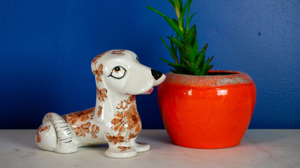 Vintage 1960s Ceramic Hound Dog Floral Flower Italian Italy
