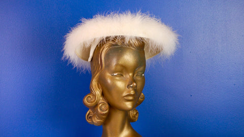 Vintage 1950s White Cream Marabou Hat
