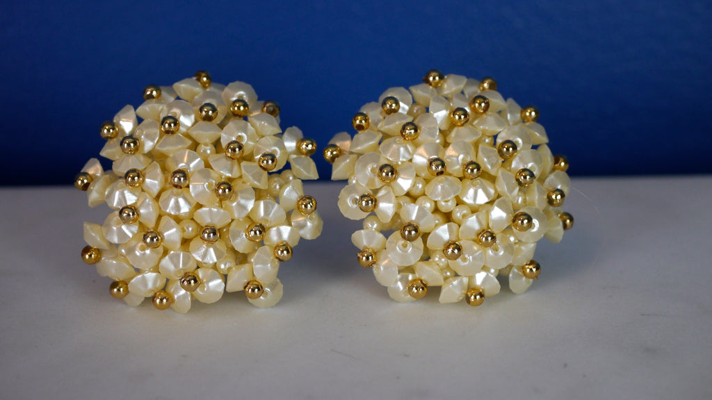 Vintage 1950s Large Clip on Earrings Faux Pearls and Gold Bead Floral Flower