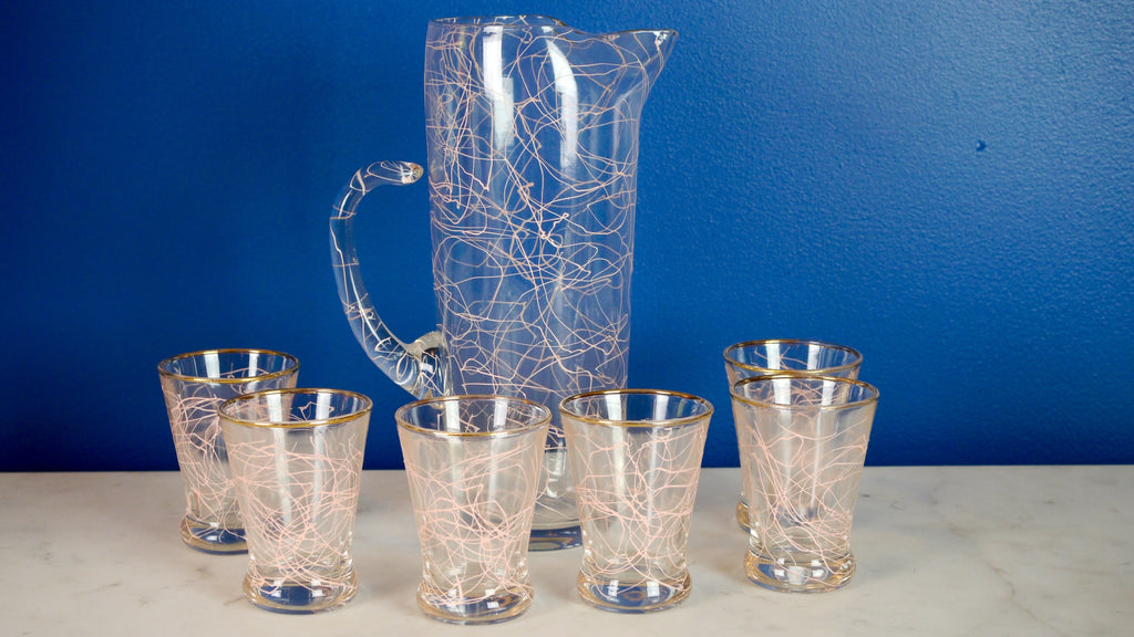 Vintage 1950s Pink Spaghetti Pitcher and Glasses set of 6 squiggle atomic gold rim