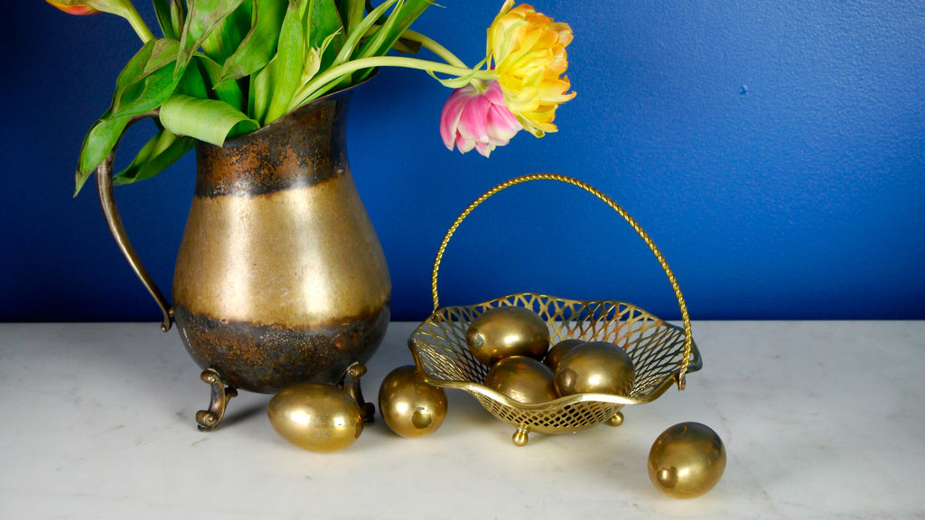 Vintage Brass Eggs in Basket Western Germany Easter
