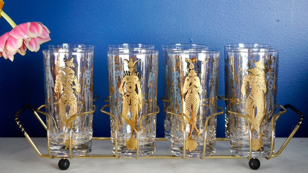 Vintage Mid Century Culver Mardi Gras Highball Glasses in Holder Cradle set of 6