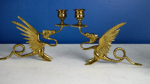 Vinatge Brass Dragon Griffin Candle Holders Pair