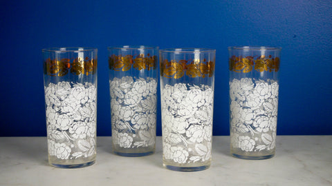Mid Century White Gold Roses set 4 Glasses Glassware Floral Lace Highball Water