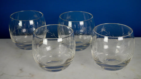 Vintage Mid Century Etched Flower Roly Poly Rocks Lowball Glasses set of 4