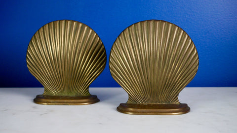 Vintage Brass Shell Bookends Seashell Book Ends