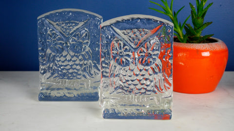 Mid Century Glass Owl Bookends Clear Blenko