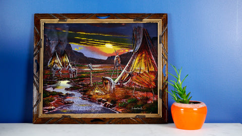 Vintage Mid Century Ernesto Sanchez Mexican Velvet Painting Sunset Native Americans Tipi Teepee