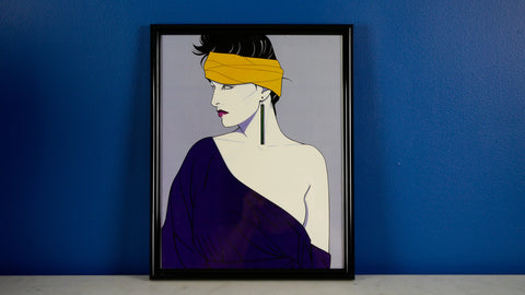 Vintage 1980s Patrick Nagel Poster in Frame Small Yellow Headband